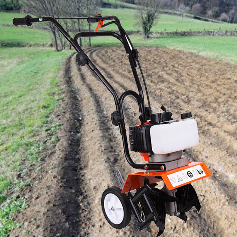 (Ship From EU) Petrol Garden Mini Tiller 2-Stroke Engine Cultivator Lawn Soil 52cc Plants Machine