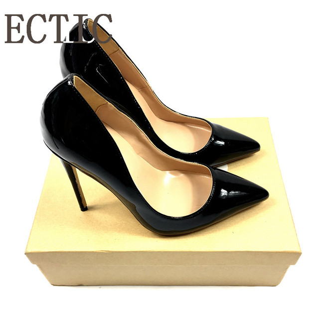 Brand Sexy Rivets Shiny Patent Leather High Heels Nude Pointed toe Pumps Shoes Party Shoes Women Stiletto High heel Pumps   1