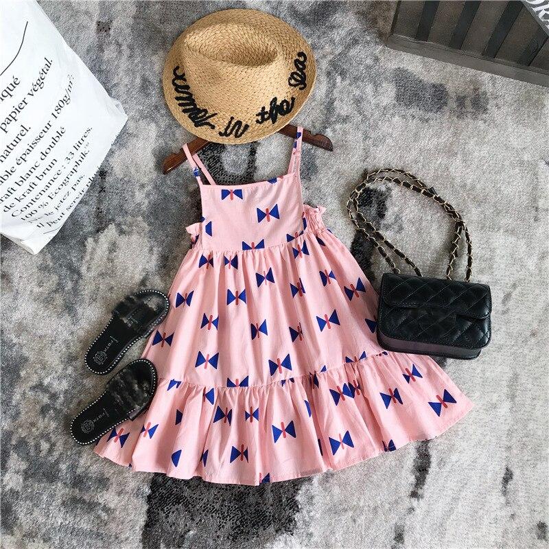 EnkeliBB Pretty Pink Dresses For Toddler Girls BOBO CHOSES 2018 Summer Dress Kids Lovely Suspender Sleeveless Tutu Dresses ems dhl free shipping toddler little girl s 2017 princess ruffles layers sleeveless lace dress summer style suspender