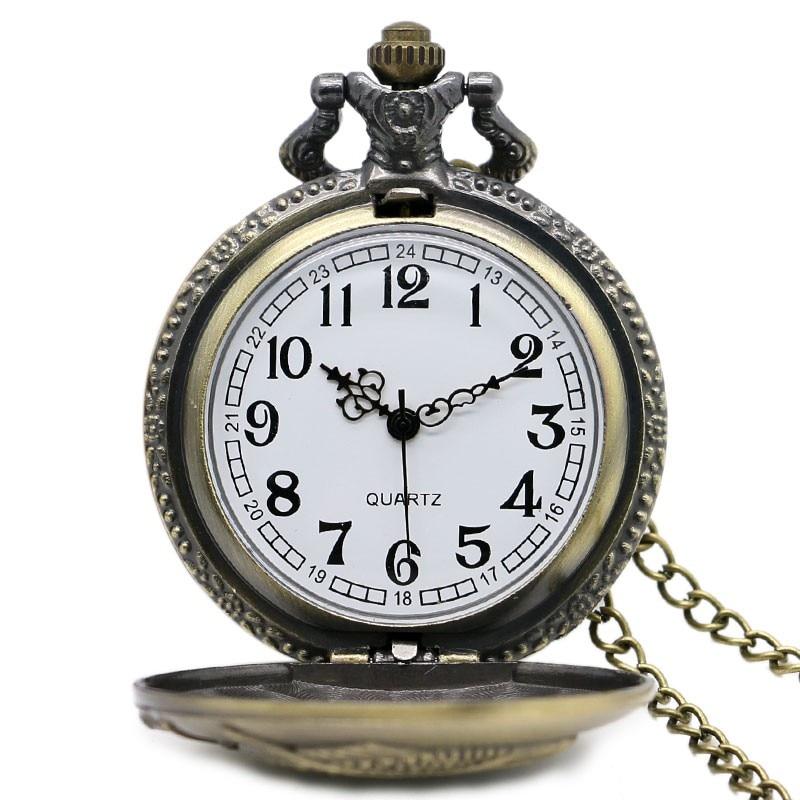 Vintage Bronz Balıkçılık Cebi Kolye Zinciri Kadın Saatler Kolye - Cep Saatleri - Fotoğraf 2