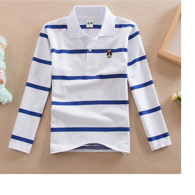 Polo-Shirt Long-Sleeve Striped Cotton 4-12-Years-Old Solid-Color Boy Lapel Round-Neck title=