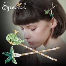 The SPECIAL New Fashion euramerican starfish whale hair accessories female cute hairpins for women, S1859H