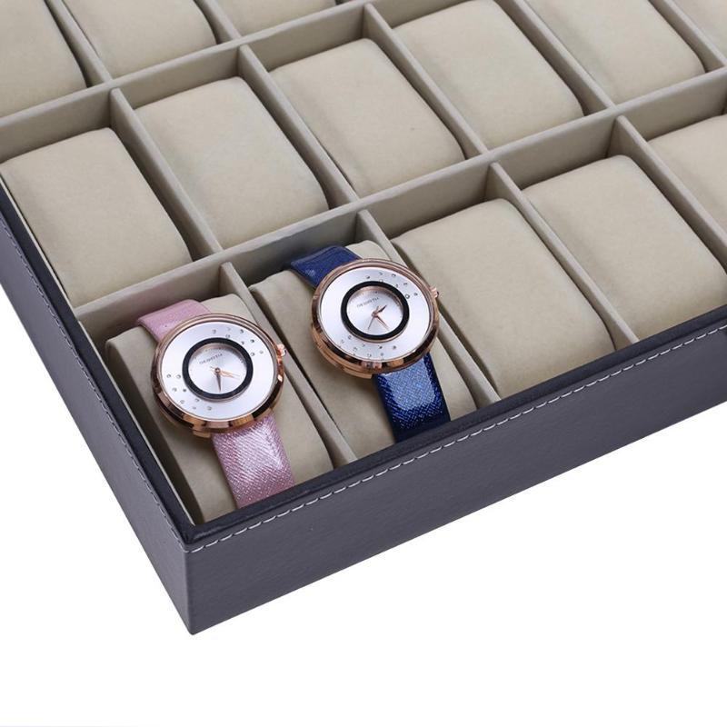 12/24 сетки искусственная кожа часы Дисплей коробка высокого класса часы поле окна деревянные часы поле слово замок 12 сетка ювелирные изделия...