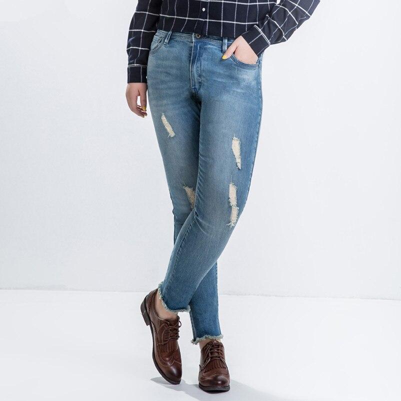 ФОТО Plus Size 5XL 6XL Jeans Casual Women Slim High Waist Ripped Denim Jeans Trousers Blue LEJ18
