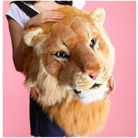50cm Lifelike Real Tiger Head New Lion Head Backpack Popular Bag Party Gift Tigger Plush Toys