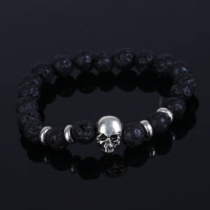 2016 Fashion 8MM Beaded Black Natural Stone beads Skull Elastic Bracelets for Men and
