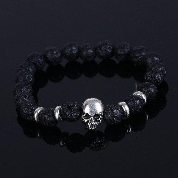 2016 moda 8 MM cuentas de piedra Natural negra pulseras elásticas de calavera para hombres y mujeres Ojo de Tigre