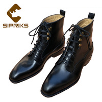 Sipriks Mens Martin Boots Luxury Goodyear Welted Derby Boots Genuine Leather Black Ankle Boots American Work Indian Boots Shoes