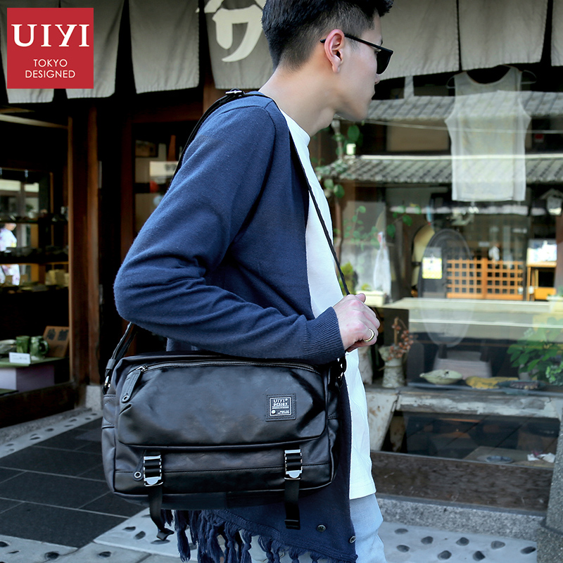 UIYI Men's PU Leather Messenger Bags Multifunctional Men Black Casual Bag Male Shoulder Cross body Bag Fashion Business Bags цена