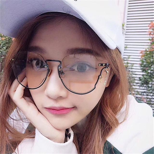 Gradient Lens Fashion Rimless Women Sunglasses for Men Vintage Glasses Cute Cool Retro Black Glasses oculos de sol sonnenbrille