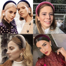 Ins Style Sponge Headband For Women Velvet Padded Headband Sweet Candy Color Hair Hoop Vintage Party Stretchy Thick Headpiece