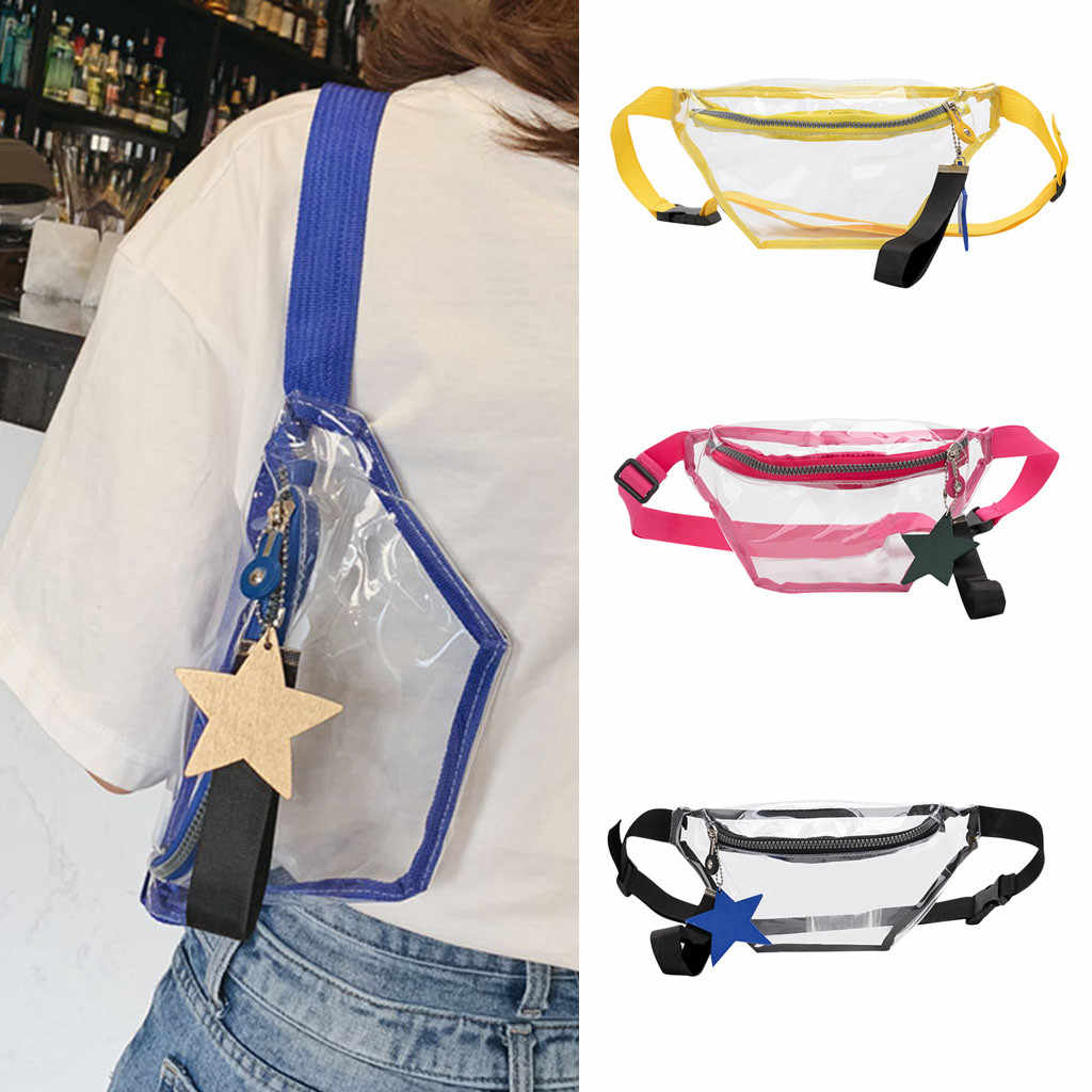 Women's fashion solid color stars shoulder bag female package Bag Transparent belt ladies Diagonal wallet holographic fanny pack