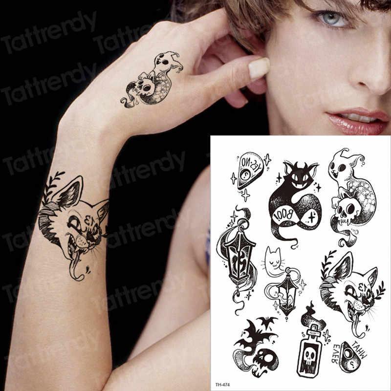 Tattoo Black Cat Devil Tattoos Temporary Sticker Animals Body Art Tattoo Sleeves Hand Wrist Tattoo Halloween Face Tatoo Transfer Aliexpress