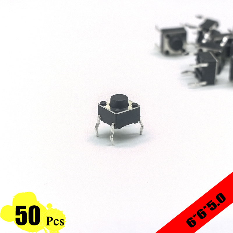 EP High Quality 50pcs/lot 6*6*5.0 mm 4 PIN Tactile Tact Push Button Micro Switch Direct Plug-in Self-reset Top Copper