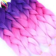 Feibin синтетические Омбре косички волосы для наращивания крючком огромные косички волосы для наращивания 24 дюйма 100 г