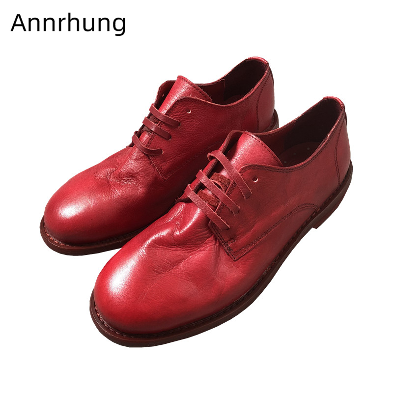 Retro Genuine Leather Flat Oxford Shoes Woman Cross-tied Round Toe Casual Shoes British Style Solid Flats Women 2019Retro Genuine Leather Flat Oxford Shoes Woman Cross-tied Round Toe Casual Shoes British Style Solid Flats Women 2019