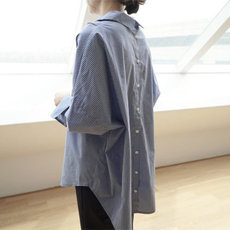 Johnature 2020 Summer Autumn New Korean Loose Striped Womens Tops And Blouses Turn-down Collar Full Sleeve Long Irregular Shirts