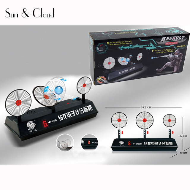 1 Set Automatic Reset Electronic Scoring Bullets Target Shooting Training  Device Case for Toy Guns NERF