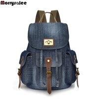 2018 Men Bag New Retro Denim Shoulder Bags Female Korean Wild Backpack Canvas Bag Casual Travel Multi pocket