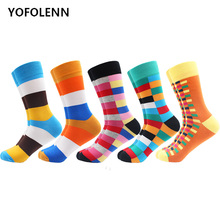5 Pairs/Lot Colorful Funny Combed Cotton Dress Wedding Striped Socks Casual Long Man Women Party Novelty Happy