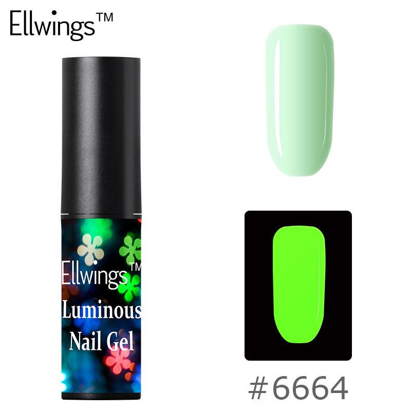 Ellwings Fluorescent Neon Glow In The Dark Light Gel for Nails Color Change In Night Lacquer Luminous Glue 8 Color Choice