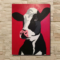 Large Funny Black White Cow Animal Painting Modern Home Decor Wall Art Pictures Handpainted Cartoon Red Oil Paintings on Canvas
