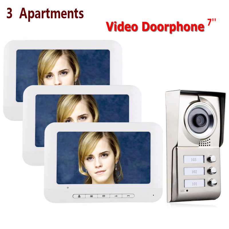 7inch LCD 3 Apartments Video Door Phone Intercom System IR-CUT HD 1000TVL Camera Doorbell Camera With 3 Button 3 Monitor Waterpr