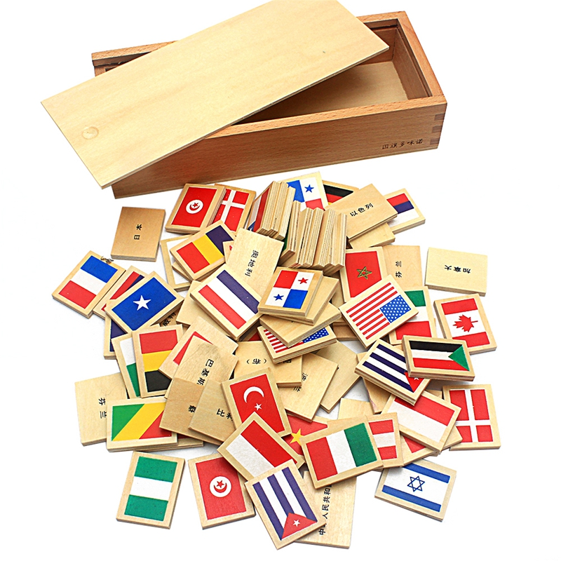 2019 New Arrival Montessori Wood Domino Blocks 80Pcs Flags Domino with Wooden Box Toys for Children Preschool Gift for Boys Girl(China)
