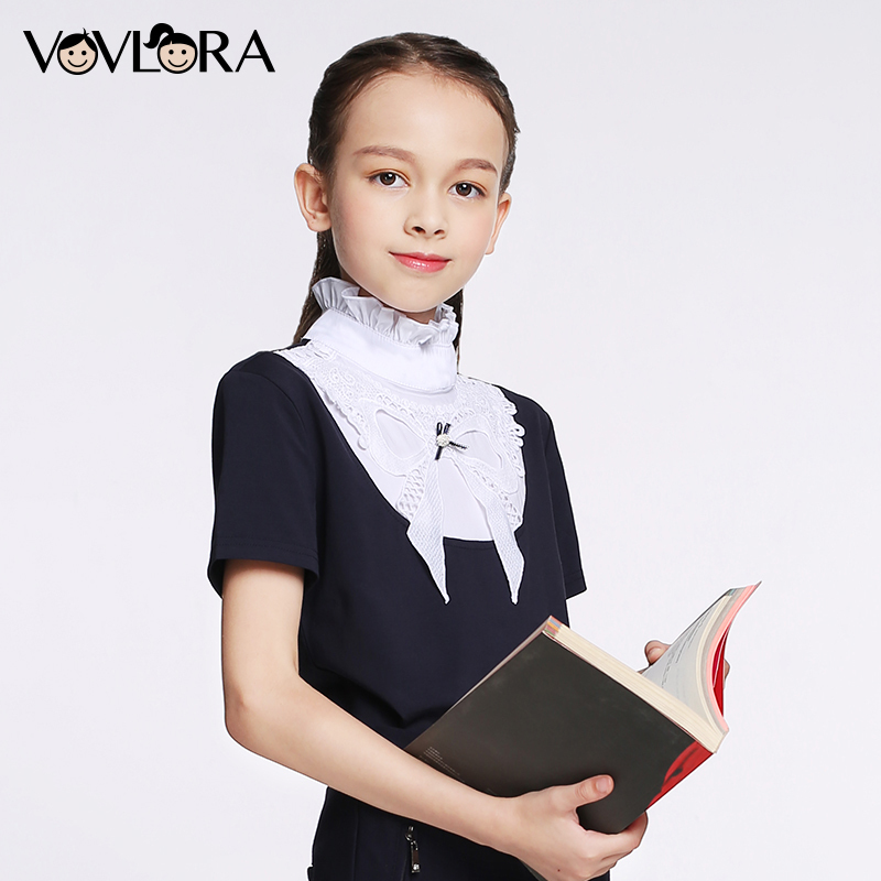 T shirt Girls Tops Ruffled Turtleneck Cotton Kids School T shirt Knitted Short Sleeve Spring 2018 New Size 7 8 9 10 11 12 years butterfly sleeve rhinestone embellished plus size t shirt