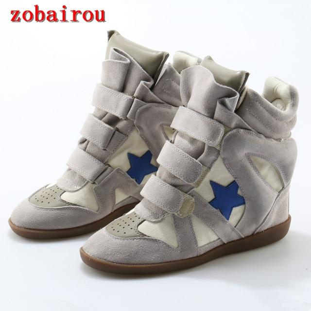 aa9eab984f2f Botines Genuine Leather Boots Women Height Increasing Casual Shoes Woman  Brand Booties Hoop Loop High Heels Ankle Boots