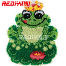 DIY Carpet Rug Green Frog Latch Hook Rug Kits Crocheting Tapestry Printed Canvas Cushion Set for Embroidery Unfinished Crafts(China)