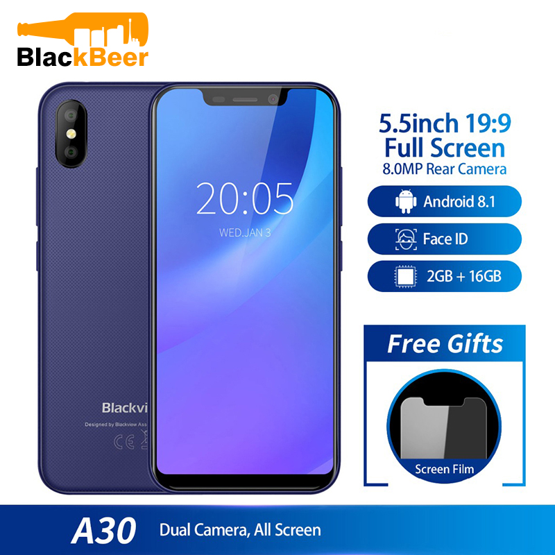 Blackview A30 Smartphone 5,5 zoll 19:9 MTK6580A Quad-Core-handy 2GB 16GB Android 8.1 Dual SIM 3G gesicht ID Handy 2500mA