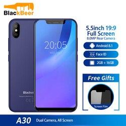 Smartphone blackview a30 5.5 polegada 19:9 mtk6580a quad core celular 2 gb 16 gb android 8.1 sim duplo 3g face id telefone móvel 2500ma