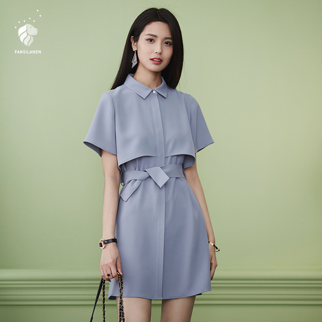 FANSILANEN 2019 New Arrival Fashion Summer/Spring Dresses Women Shirt Dress Chiffon Female Party Office Beach Belt Solid 71145