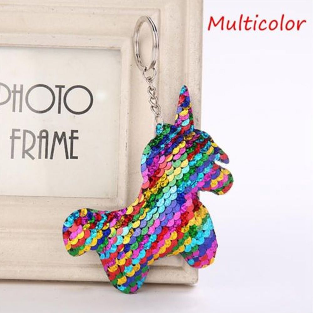 Bag Parts & Accessories Industrious 1pc Cute Unicorn Keychain Glitter Pompom Sequins Key Ring Gifts For Women Car Bag Accessories Key Chain Dropshipping Aesthetic Appearance