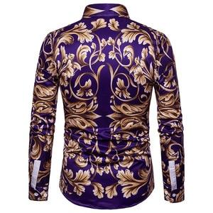Image 2 - Moda Altın Çiçek Baskılı Gömlek Erkekler 2018 Lüks Marka Erkek Slim Fit uzun kollu elbise Gömlek Barok Tarzı Chemise Homme Xxl