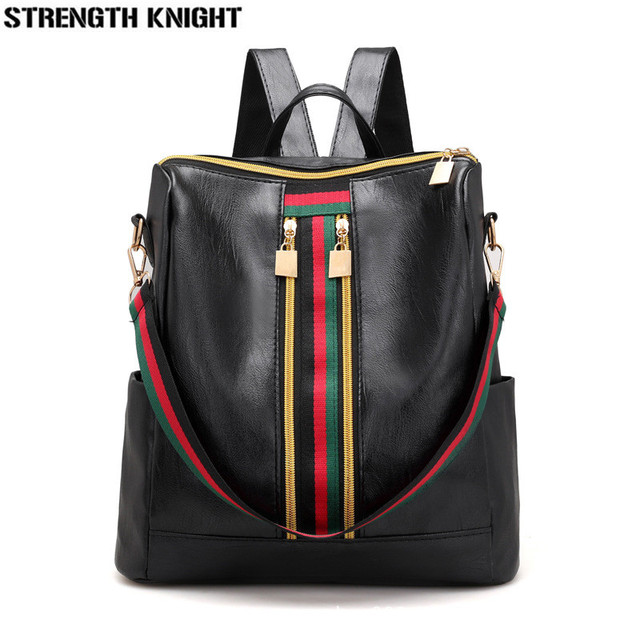 2019 Soft PU Leather Backpack Women Vintage College Girls Student School Bags Mochila Casual Travel Female Rucksack Backpack