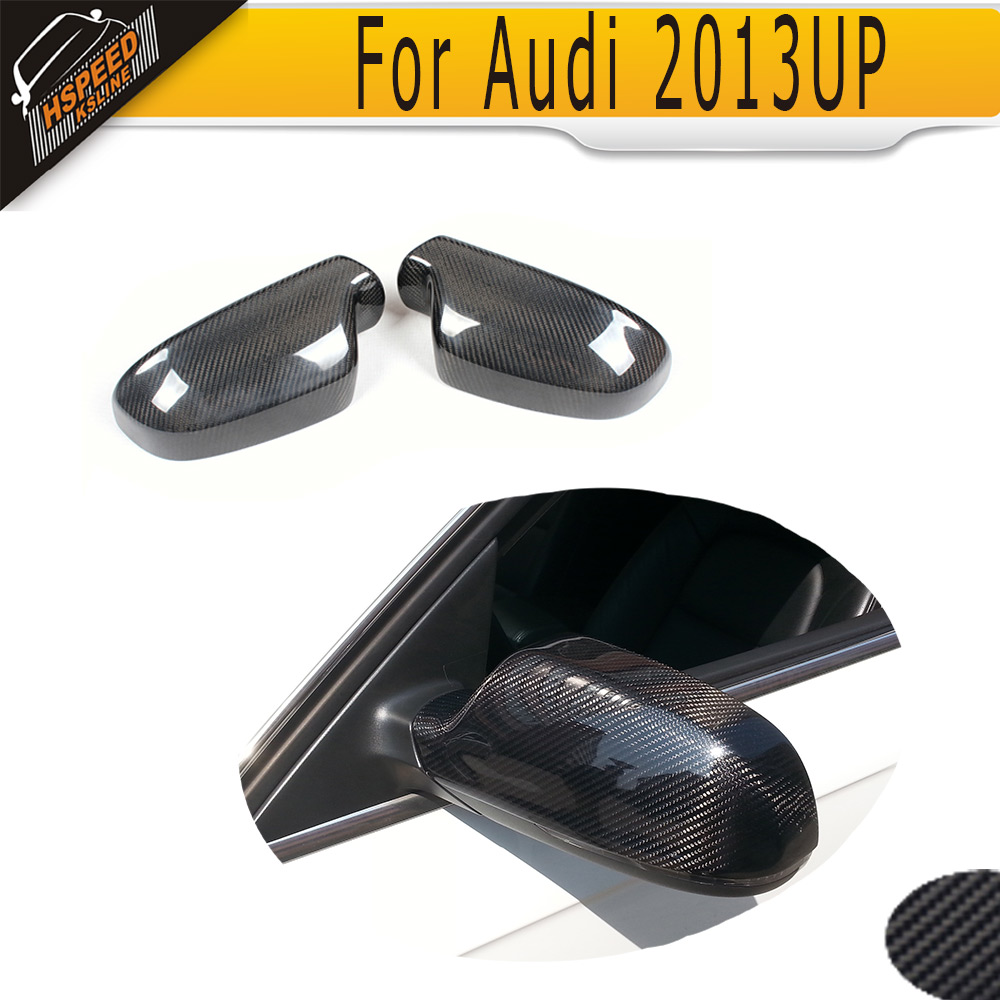 Carbon fiber Car Mirror Cover Caps for Audi A4 B9 2013 2014 2015 2016 Add On Style Without Side Assist 2pcs carbon fiber rearview mirror cover for audi a4 b8 2013 2015