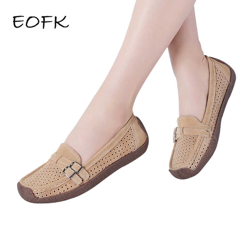 EOFK ผู้หญิง Ballet Flats รองเท้าผู้หญิงฤดูร้อน Cow Suede Breathable Cut Out Loafers ผู้หญิงรองเท้ารองเท้ารองเท้า Soft