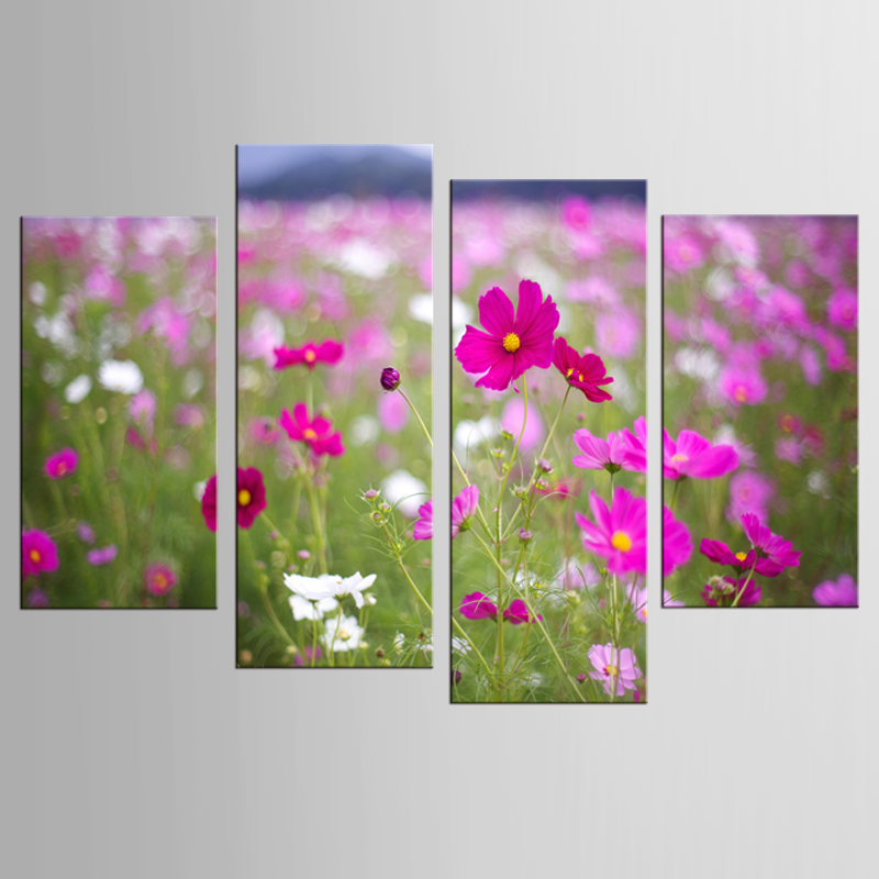4Pcs/Set Pink Flowers Factory Direct Sale High Printings Paintings Wall Art Home Decoration Unframed Canvas Oil Painting