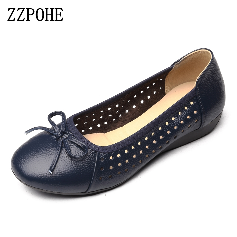 ZZPOHE Women Flat Shoes 2017 Summer Breathable hollow soft Casual mother shoes Leather fashion woman shoes Lady driving shoes patil mcgraw hill specialty board review anatomic pathology