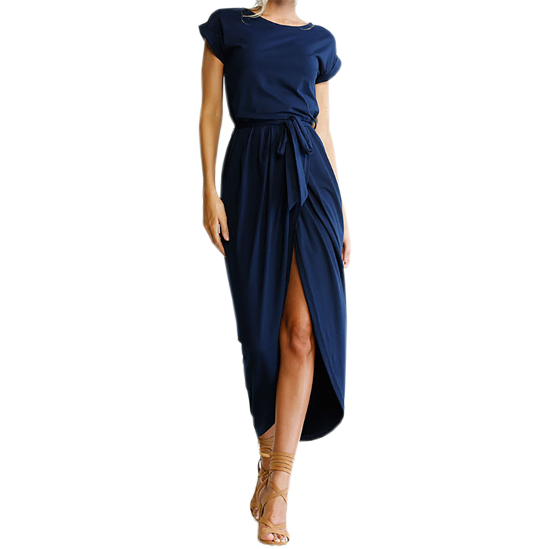 Bho Maxi Dress Sexy Open Slit Women Long Dresses Loose Solid Summer 2018 New Casual Dress Short Sleeve Plus Size GV718