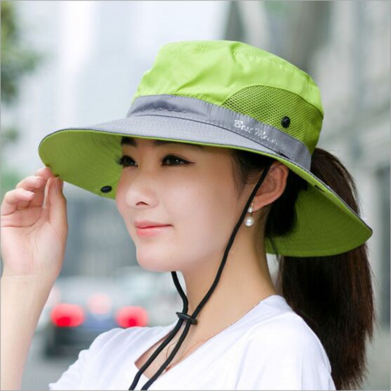 Sun Hat Men Women Bucket Hats Outdoor Summer Fishing Cap Wide Brim Size Adjustable Flap Hat Breathable Mesh Beach Hat HT51184