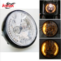 7'' Motorcycle Amber 26 LED Halo Headlight Turn Signal with 35W HID 6000W for Harley Honda Suzuki Kawasaki Yamaha