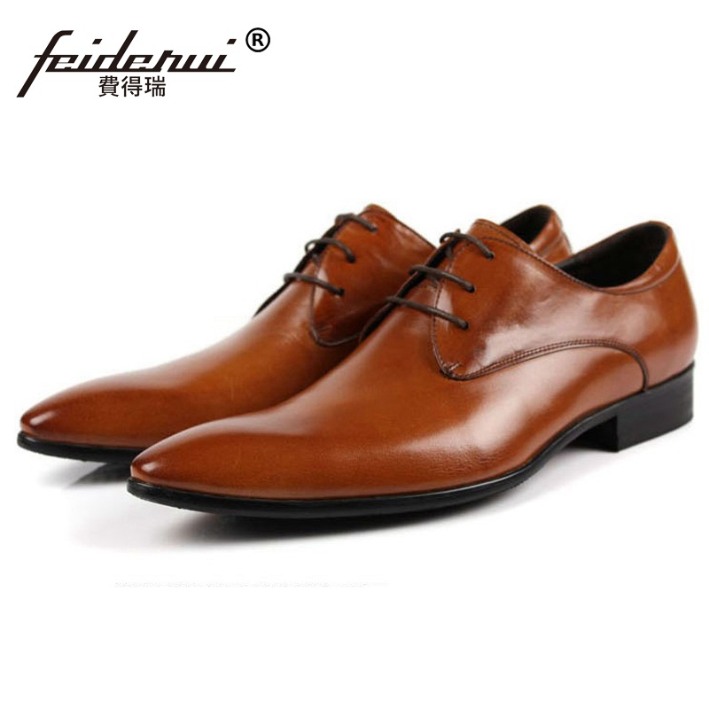 New Arrival Luxury Brand Pointed Toe Man Formal Dress Wedding Shoes Genuine Leather Male Oxfords Men's Derby Bridal Flats IH89 plus size 2016 new formal brand genuine leather high heels pointed toe oxfords punk rock men s wolf print flats shoes fpt314