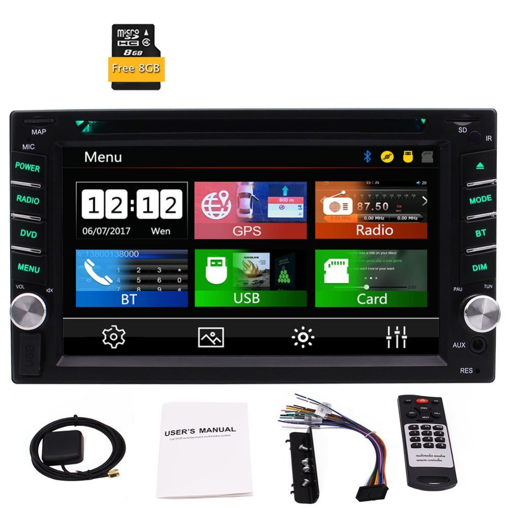 6.2 Double Din In Dash Car DVD Player GPS Car Stereo Bluetooth USB AUX Dual TF Radio FM AM RDS Car+Free GPS MAP+Remote Control6.2 Double Din In Dash Car DVD Player GPS Car Stereo Bluetooth USB AUX Dual TF Radio FM AM RDS Car+Free GPS MAP+Remote Control
