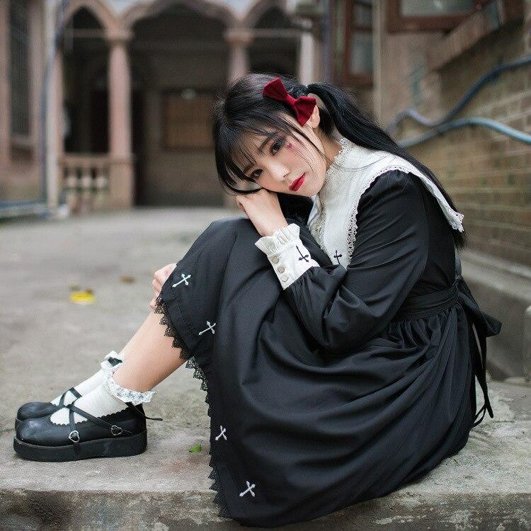 Punk Gothic Lolita sukienka dziewczyna ciemności czarne kobiety monastycyzm w stylu Vintage pełna rękaw zakonnica krzyż haft Halloween Cos sukienki w Suknie od Odzież damska na  Grupa 3