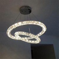 Modern 2 Rings LED Crystal Chandeliers Lights Three Sides Restaurant 2 Circles Diamond Home Lighting Decorativas