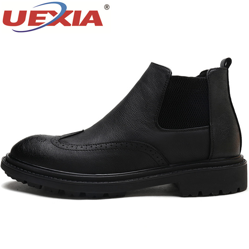 UEXIA Leather Chains Harness Men Boots Stacked Heel Ankle Boots Side Men Fashion Chelsea Boots Men Shoes Business Dress Flats
