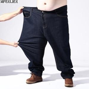 Image 3 - Pantalon extensible noir pour hommes, grandes tailles, 9XL, 10XL, 11XL, 12XL, pantalon élastique, droit, 50 54 56 58
